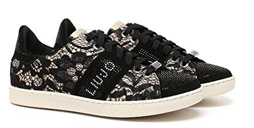 Liu Jo Sneaker Donna Running Mimi Pizzo Raso Suede Strass Lacci Nero Nero