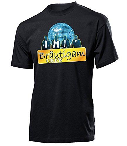 Bräutigam Crew 4454 Junggesellenabschied Feier Ideen JGA Hochzeit Heiraten Outfit Hemd Herren Shirt Kostüm für Männer Geschenk Tshirt Party Schwarz ()