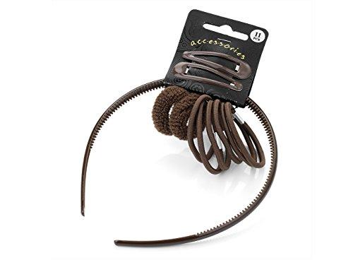 11-teiliges Head Band, Haargummis, und Clip-Set in Schokolade braun