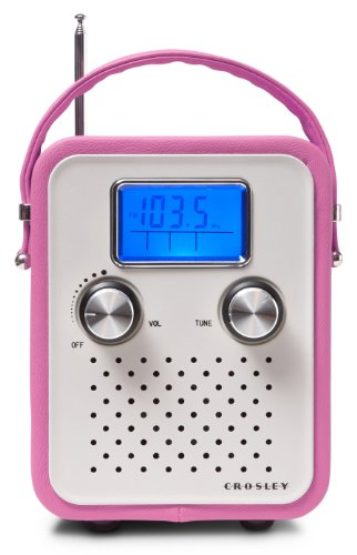 tage Retro Tragbares AM/FM Radio mit Tragriemen Kompatibel mit iPod und MP3 Player - UK Netzstecker - Pink ()