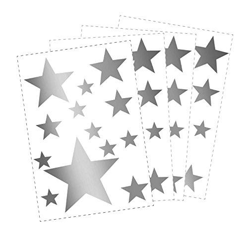 50 Sterne Wandtattoo fürs Kinderzimmer - Wandsticker Set - Pastell Farben, Baby Sternenhimmel zum Kleben Wandaufkleber Sticker Wanddeko - Wandfolie, Kleinkinder, Erstausstattung auf Rauhfaser Silber