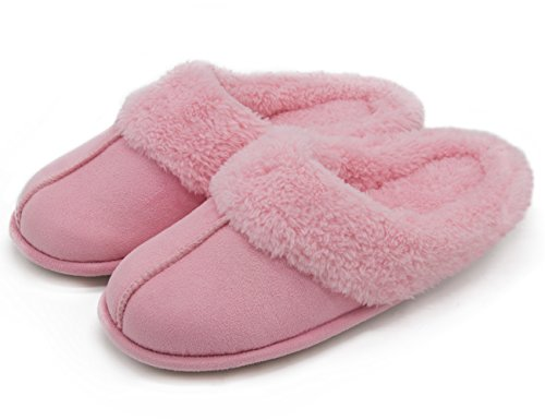 hometop-womens-cozy-fabric-slip-on-house-slippers-45-55-uk-pink