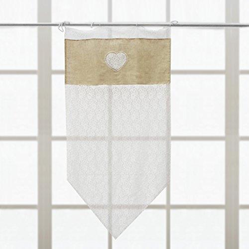 Rideau Brise Bise Shabby Chic et Romantique - Dentelle/Cœurs - 60x120 - Blanc/Lin - 80% Polyester / 20% Lin