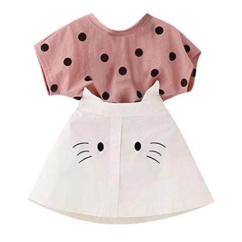 LENGIMA Kleinkind Kind Baby Mädchen Outfits Kleidung Dot Print T-Shirt + Katze Stickerei Rock Set (Color : Pink, Size : 120/13)