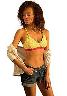 1f6e223752 Brag Women s T-Shirt Bralette (BLA03YL01-M Yellow print with pink  trims Medium) Image
