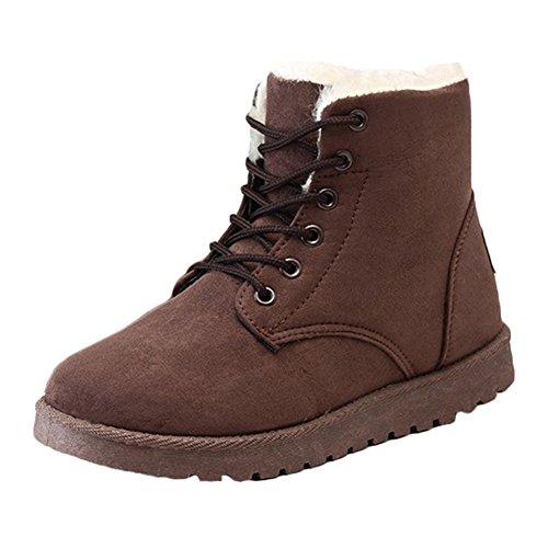 Lace-Up Martin Stiefel, Damen Wildleder Flache Plattform Sneaker Schuhe Fell Gefüttert Winter Lace Up Snow Boots (Damen-wildleder-kalt-wetter-stiefel)