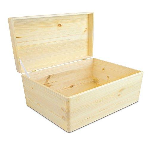 Universal Holzkiste mit Deckel für Aufbewahrung - Kiefer naturbelassen unbehandelt FSC - ca. 30 x 20 x 14 cm - Grinscard