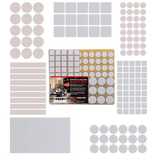 ToniTec Filzgleiter Selbstklebend für Stühle, Basis Set 135 Stück mit 7 verschiedenen Größen, Rund und Rechteckig, Filz für Möbel Filzunterlage Weiß -