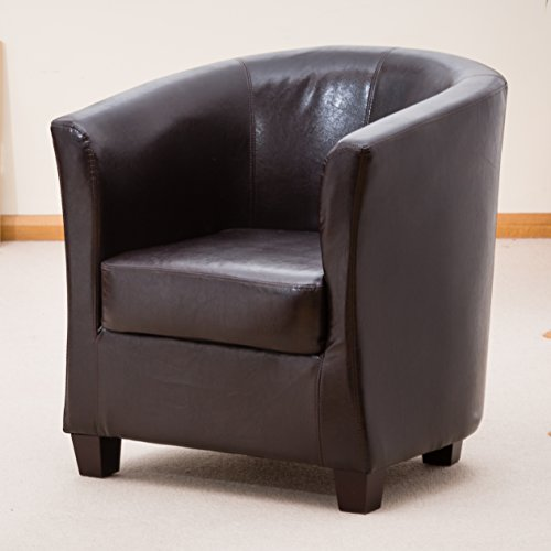 Sofa Collection Brand New Ibarra Bonded Tub Chair/Armchair Seating, Leather, Brown, 72 x 71 x 78 cm
