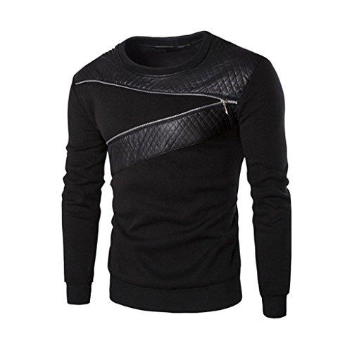 Covermason Blousons Manteaux Hommes Hiver Chaud épissage Sweatshirt Manteau Veste Cuir Outwear Pull (L, Noir) Covermason