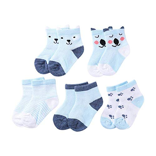 344df7b245a62 Beaulies Toddler 5Pairs Toddler Girl Non Skid Socks Cute Cotton, Fun Design  Cartoon Socks Antislip Socks Baby Socks Set Socks Gift (Blue)