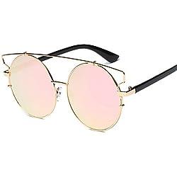 VENMO 2017 Moda Gafas Vintage Unisex Aviador Espejo Lente Gafas de Sol Polarizadas (Oro + rosa)