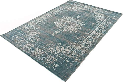 LIFA LIVING Vintage Teppich, im schönen Vintage Muster, für Wohnzimmer und Schlafzimmer, Farb und Größen Variationen, (Grau/Blau, 80 x 150 cm)