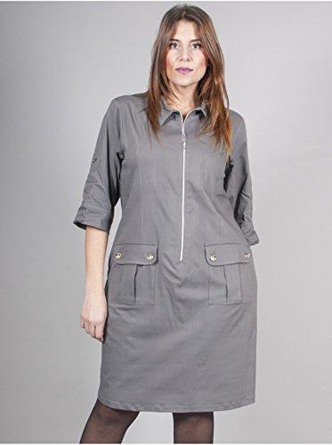 Vêtement Femme Grande Taille Robe Zip Gris Gris