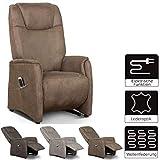 Cavadore Fernsehsessel Mamby / TV-Sessel elektrisch mit 2 Motoren zur Verstellung der Rückenlehne und Fußstütze / Ergonomie L / Belastbar bis 130 kg / Größe: 69x119x83 (BxHxT) / Farbe: Nuss (braun)