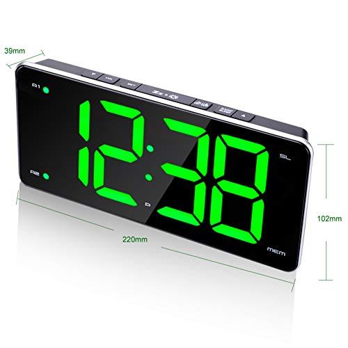 XIAOMEI Ukw-Radio Digital Wecker Spiegel Dimmer Leuchtend Leise USB Dual Snooze Uhr Für Schlafzimmer Schreibtisch-A - Digitale Radio Clock Atomic