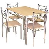 Tablero DM y Celine–Juego de mesa y 4sillas (acero, 111x 71x 76cm, madera natural efecto