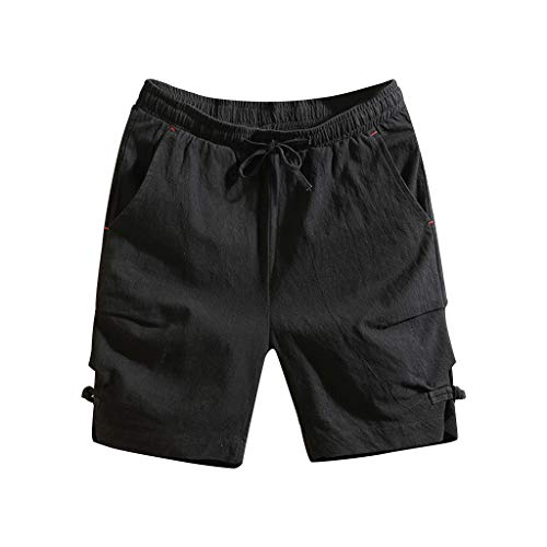 Sport Shorts Herren Sommer Strand Sea Surfen Kurze Hose Boxing Bermuda Running Fitness Gym Lightweight Training Shorts,Qmber Vintage Cotton Freizeitshorts/Schwarz,2XL -