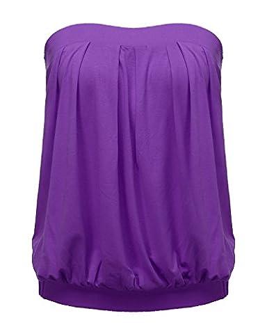ZANZEA Women's Sexy Casual Summer Slim Strapless Pleated Ruched Beach Vest Shirt Tube Tops Purple US