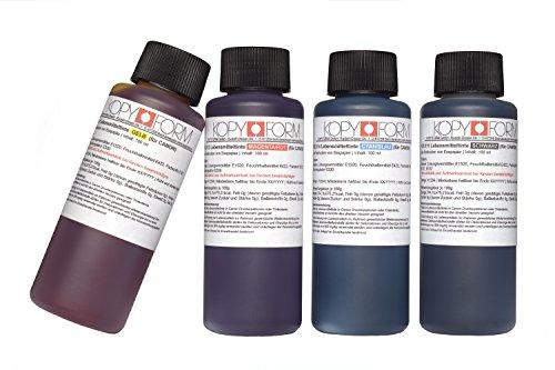 KOPYFORM Lebensmitteltinte 4x100ml Set (Schwarz, Gelb, Magenta, Cyan) für Canon-Drucker, z.B. G1501 (KOL110) - 100 Magenta Tinte