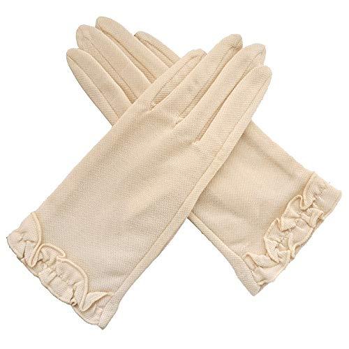 bezieht Sich auf Sonnenschutzhandschuhe Palm Rubber Anti-Rutsch-Handschuhe Outdoor-Frauenhandschuhe Travel Sunscreen Sunshade Gloves (Color : Beige) ()