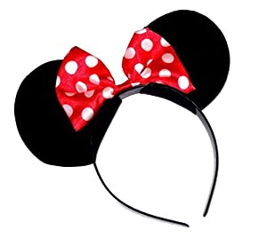 Black Minnie mouse ears On head band with Red bow ,Perfect Fancy dress , Hen nights ,Party etc.One size will fit both Adults and child . .