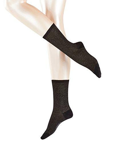 ESPRIT Damen Socken Shiny Shadow, Schwarz (Black 3000), 39/42 (Gerippten Baumwolle Zehen-socken)
