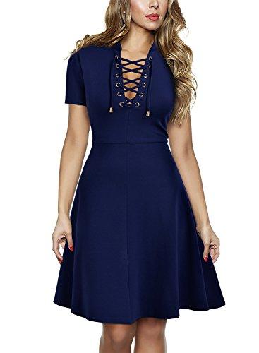 MIUSOL Damen Kurzarm Abendkleid Cocktailkleid Sexy Mini Sommer kleid Ballkleid Blau Gr.XXL