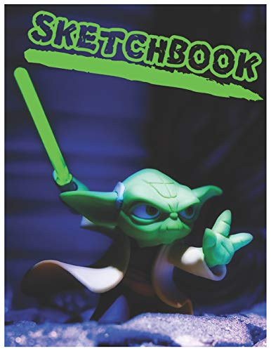 Sketchbook: Cute Yoda Sketchbook for Kids to Sketching, Whiting, Drawing, Journaling and Doodling (8.5x11 Inch.) 150 Blank Pages for Children (Green&Blue Pattern)