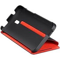 HTC Double Dip Flip Hülle Case Cover mit Integrierter Standfunktion für HTC M4 - Schwarz/Rot
