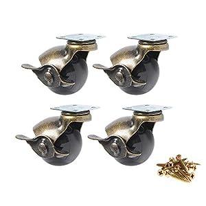Möbelrollen Kugel Lenkrollen mit Bremse Schraube für Möbel Hartholzboden und Boden Teppich Rollendurchmesser 1.5 Zoll(40mm) 4 Stück