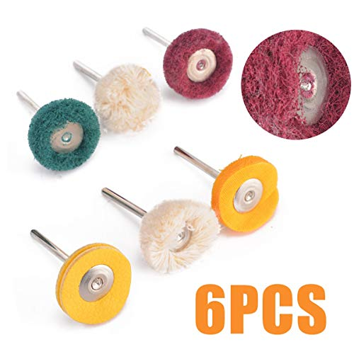 6pcs /Set Polishing Buffing Wheel Set Cotton Little Buff Wheel for Rotary Drill Tool Accessories Watch Jewelry Polish Buffer Kit -
