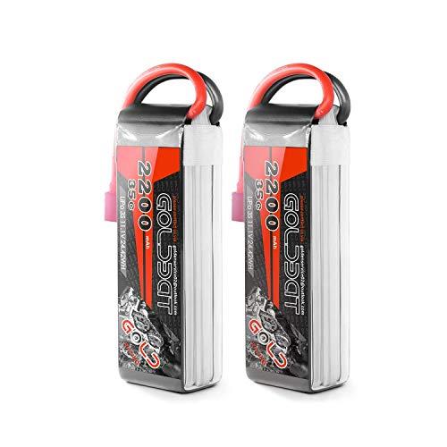 GOLDBAT RC Batterie 2200 mAh 11.1V 35C 3S Li-Polymer Ersatzakku Batterie Modellbau Akku mit Deans Stecker T Plug für RC Auto, Truck, Flugzeug, Heilikopter, Boot RC Hobby (2 Packs) - Hobbyking