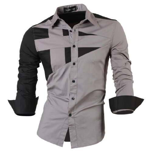 jeansian Herren Freizeit Hemden Shirt Tops Mode Langarmshirts Slim Fit 8397 8397_Gray