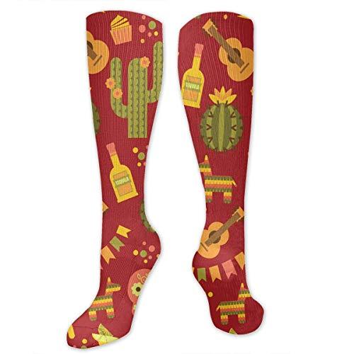 ouyjian Mexikanische Kaktus Gitarre Polyester Baumwolle über Knie Bein hohe Socken Retro Unisex Oberschenkel Strümpfe Cosplay - Strumpf Gitarre