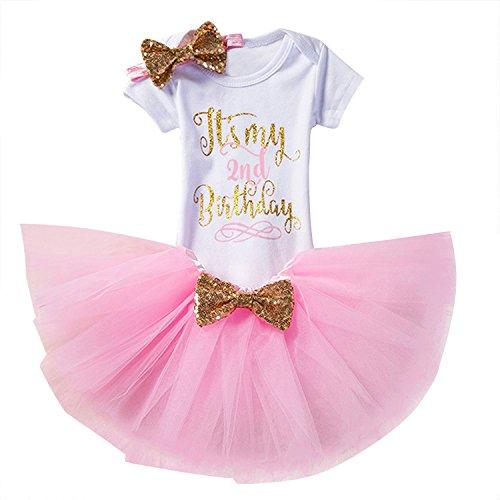NNJXD Mädchen Neugeborene Es ist mein 1. Geburtstag 3 Stück Outfits Strampler + Rock + Stirnband Größe (2) 2 Jahre Rosa (Kleider Geburtstag Mädchen)