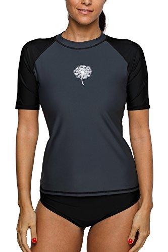 Sociala Short Sleeve Rash Guard Swim Shirt Print Rashguard Badeanzug X-Large Grau und Schwarz -