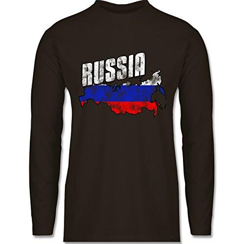 Shirtracer Fußball-WM 2018 - Russland - Russia Umriss Vintage - Herren Langarmshirt Braun
