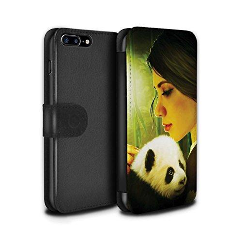 Offiziell Elena Dudina PU-Leder Hülle/Case/Tasche/Cover für Apple iPhone 8 Plus / Kleopatra/Golden Schlange Muster / Die Tiere Kollektion Kleiner Panda/Bambus