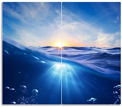 Wallario Herdabdeckplatte/Spritzschutz aus Glas, 2-teilig, 60x52cm, für Ceran- und Induktionsherde, Wellen im Meer bei Sonnenuntergang