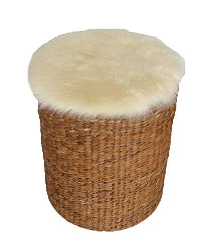 Preisvergleich Produktbild Leibersperger Felle Runde Auflage Lammfell Sitzkissen / Stuhlkissen Sitzunterlage Ø 40cm / Fell 46cm (Weiß)
