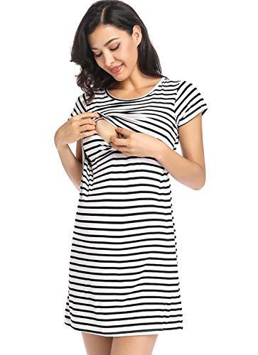 Ritera Embarazadas Vestido Premama Lactancia Vestido De Lactancia Femenino con Correa Multi Funcional,Dorado,XXL
