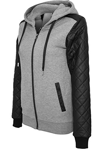 URBAN CLASSICS - Ladies Diamond Leather Imitation Sleeve Zip Hoody (grey-black), Gr. M (Zip Tee Sleeve)