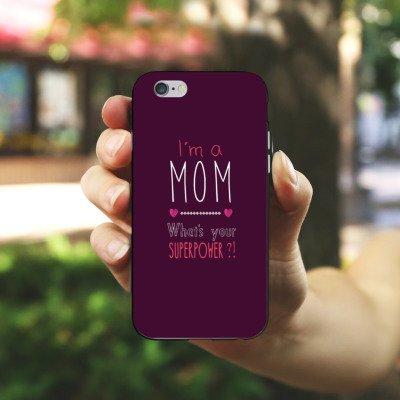 Apple iPhone X Silikon Hülle Case Schutzhülle Mutter Superpower mama Silikon Case schwarz / weiß