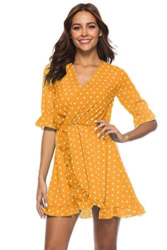 Vestido De Cóctel Lunares Sin Mangas Elegantes Vintage Verano Lápiz Vestidos De Fiesta Mujer Cortos Amarillo M