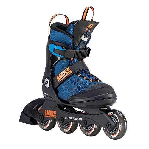 K2 Jungen Inline Skates RAIDER PRO - Schwarz-Blau-Orange - L (35-40 EU; 3-7 UK; 4-8 US) - 30D0221.1.1.L - Junior Boy Casual Schuhe