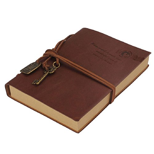 NUOLUX Notizbuch Leder-NUOLUX String Schlüssel Retro Vintage Leder Zeitschriften Notebook(Coffee)