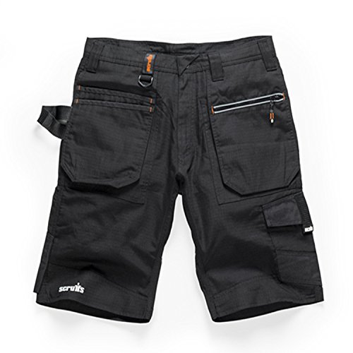 Scruffs Ripstop Trade Hardwearing Cargo Work Shorts with Multiple Pockets in Black (28in - 40in Waists)