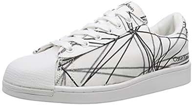 Calvin Klein Jeans  FELIX CANVAS GEOMETRIC PRINT, Baskets pour homme Blanc Weiß (WHITE) Taille 43