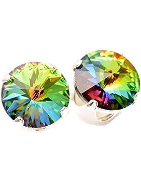 Lagerräumung. 925-Sterling Ohrstecker handgefertigt mit funkelnden Enchanted Forest Kristall aus SWAROVSKI®.